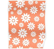 Coral Fun daisy style flower pattern Poster