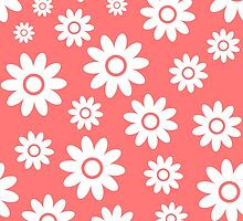 Pink Fun daisy style flower pattern by ImageNugget