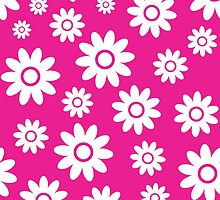 Hot Pink Fun daisy style flower pattern by ImageNugget