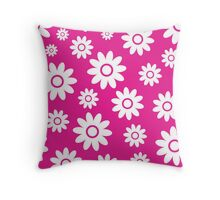 Hot Pink Fun daisy style flower pattern Throw Pillow