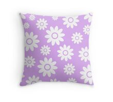 Lilac Fun daisy style flower pattern Throw Pillow