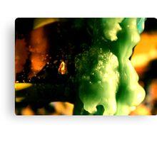 Macro wax - green bubbles Canvas Print
