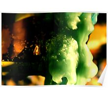 Macro wax - green bubbles Poster