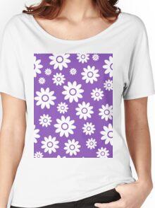 Light Purple Fun daisy style flower pattern Women's Relaxed Fit T-Shirt