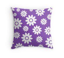 Light Purple Fun daisy style flower pattern Throw Pillow