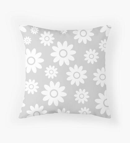 Light Grey Fun daisy style flower pattern Throw Pillow