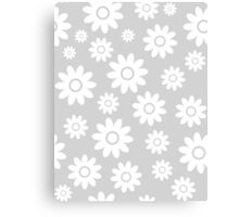 Light Grey Fun daisy style flower pattern Canvas Print