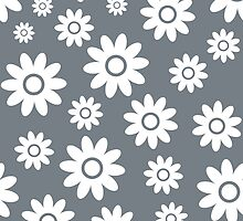 Cool Grey Fun daisy style flower pattern by ImageNugget