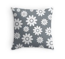 Cool Grey Fun daisy style flower pattern Throw Pillow