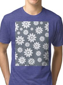 Cool Grey Fun daisy style flower pattern Tri-blend T-Shirt