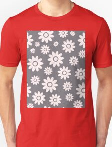 Cool Grey Fun daisy style flower pattern Unisex T-Shirt