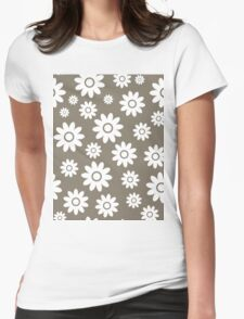 Warm Grey Fun daisy style flower pattern Womens Fitted T-Shirt