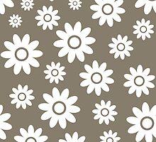 Warm Grey Fun daisy style flower pattern by ImageNugget