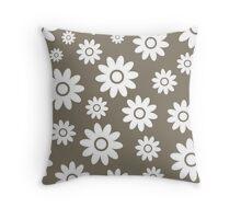 Warm Grey Fun daisy style flower pattern Throw Pillow