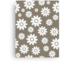 Warm Grey Fun daisy style flower pattern Canvas Print