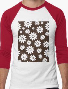 Chocolate Fun daisy style flower pattern Men's Baseball ¾ T-Shirt