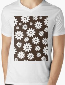 Chocolate Fun daisy style flower pattern Mens V-Neck T-Shirt