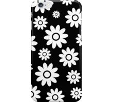 Black Fun daisy style flower pattern iPhone Case/Skin