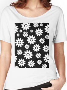Black Fun daisy style flower pattern Women's Relaxed Fit T-Shirt