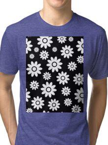 Black Fun daisy style flower pattern Tri-blend T-Shirt
