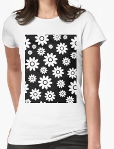 Black Fun daisy style flower pattern Womens Fitted T-Shirt