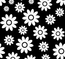 Black Fun daisy style flower pattern by ImageNugget
