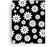 Black Fun daisy style flower pattern Canvas Print