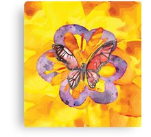 Bright faux watercolor butterfly Canvas Print
