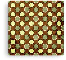 Vintage Retro Polkadot Brown Pattern Canvas Print