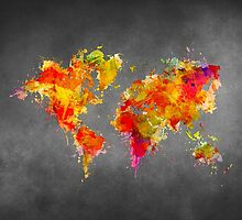 World Map splash red by JBJart