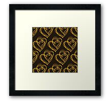 Brown Heart Pattern Framed Print