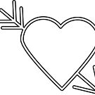 White Heart with Black Outline Arrow by ValeriesGallery