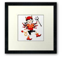 Kid role game playing as a devil. Framed Print