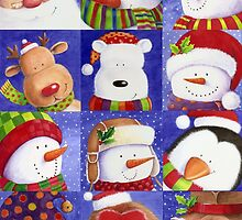 Cute Christmas gang - Santa, Snowman, Penguin, Polar Bear by lizblackdowding