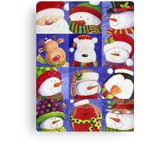 Cute Christmas gang - Santa, Snowman, Penguin, Polar Bear Canvas Print
