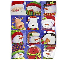 Cute Christmas gang - Santa, Snowman, Penguin, Polar Bear Poster