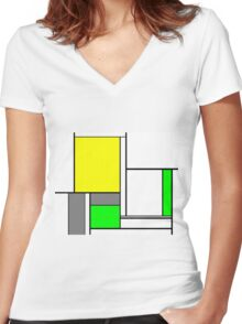 Faux Mondrian August Women's Fitted V-Neck T-Shirt