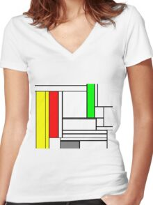 Faux Mondrian February Women's Fitted V-Neck T-Shirt