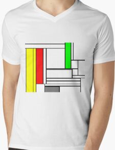 Faux Mondrian February Mens V-Neck T-Shirt