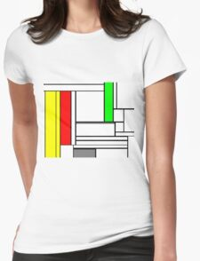 Faux Mondrian February Womens Fitted T-Shirt