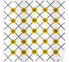 Modern Yellow Flowers on Plaid Poster