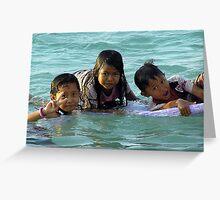 Children playing in sea, Bali  Greeting Card