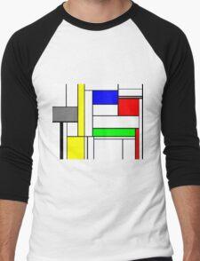 Faux Mondrian September Men's Baseball ¾ T-Shirt