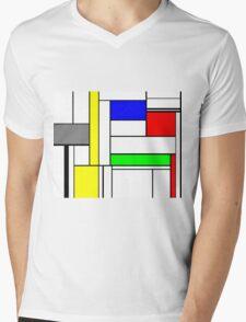 Faux Mondrian September Mens V-Neck T-Shirt