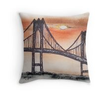 NEWPORT RHODE ISLAND PELL BRIDGE  Throw Pillow