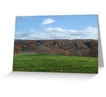 Blue/ Fall/ Green hillside, Ithaca, NY Greeting Card