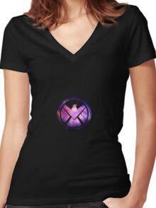 Shield logo Women's Fitted V-Neck T-Shirt