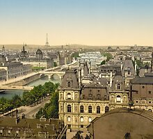 Vintage Paris Photo - Panorama of Paris and the Seven Bridges - c1895 by VintageParis