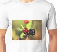 Red and black blackberry fruits. Unisex T-Shirt