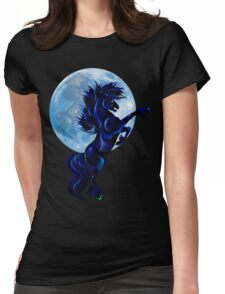 Rearing Stallion and Blue Moon  Womens Fitted T-Shirt